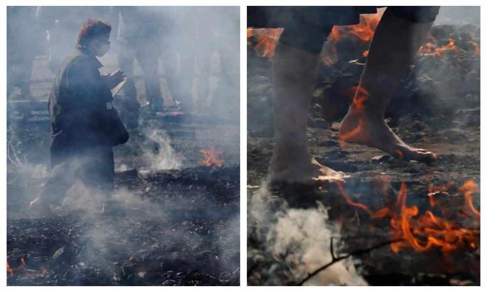 Japón: adoradores caminan sobre brasas ardientes orando por la seguridad