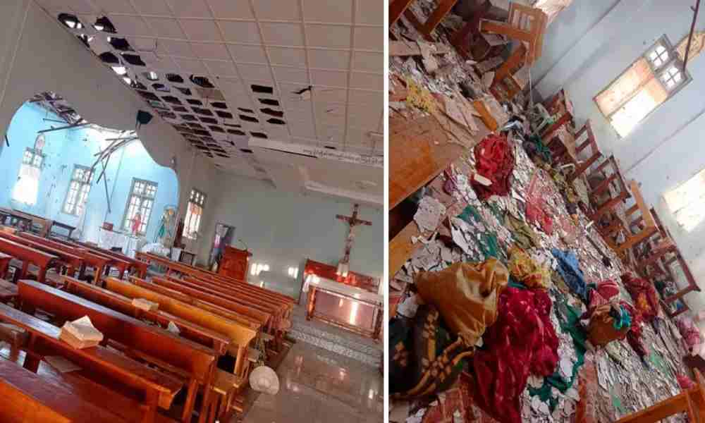 Cuatro personas fallecidas en bombardeo a iglesia en Myanmar