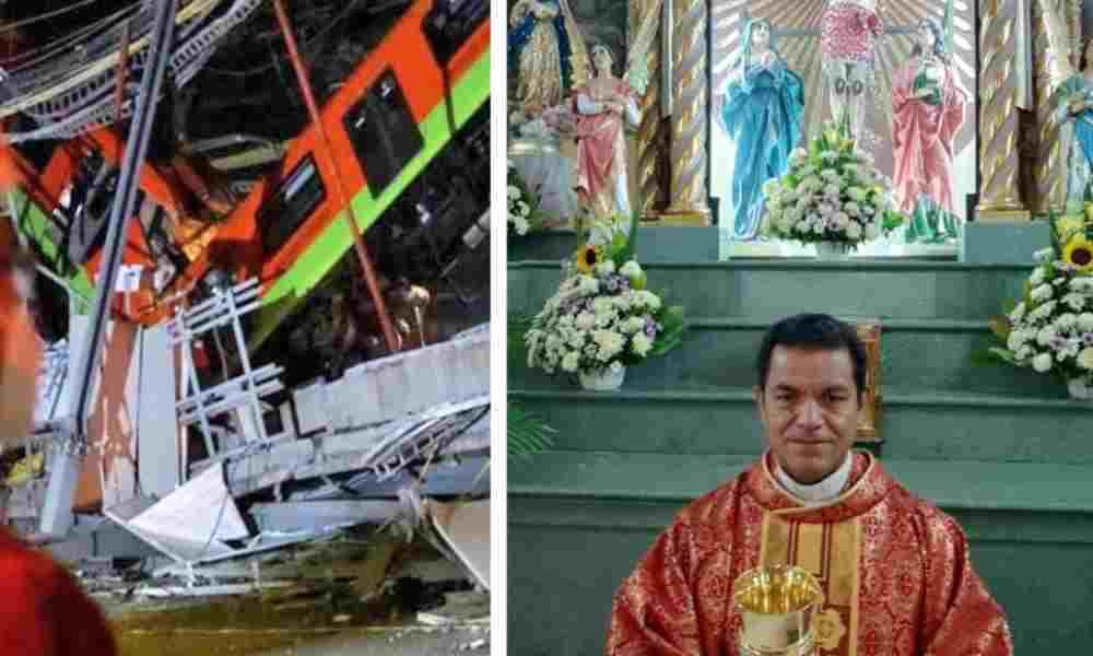 Sacerdote da absolución de pecados a muertos del accidente en metro de México