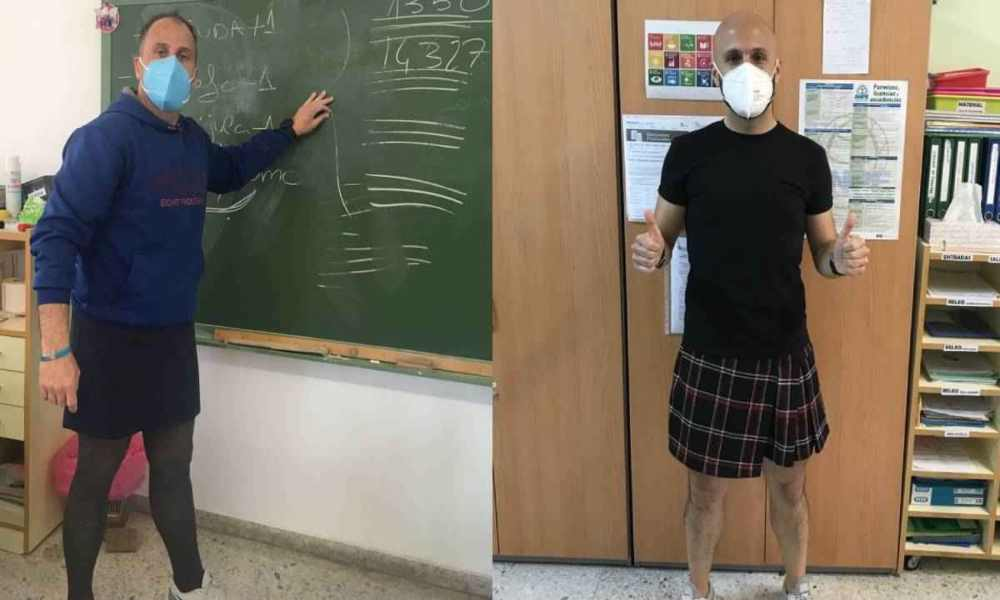 España: profesores usan faldas en sus clases para combatir estereotipos de género